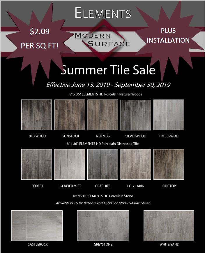 Summer Sale: only $2.09 per square foot plus installation.